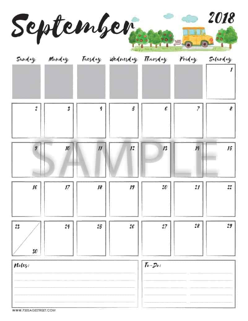September 2018 Printable Calendar with the word sample typed across it