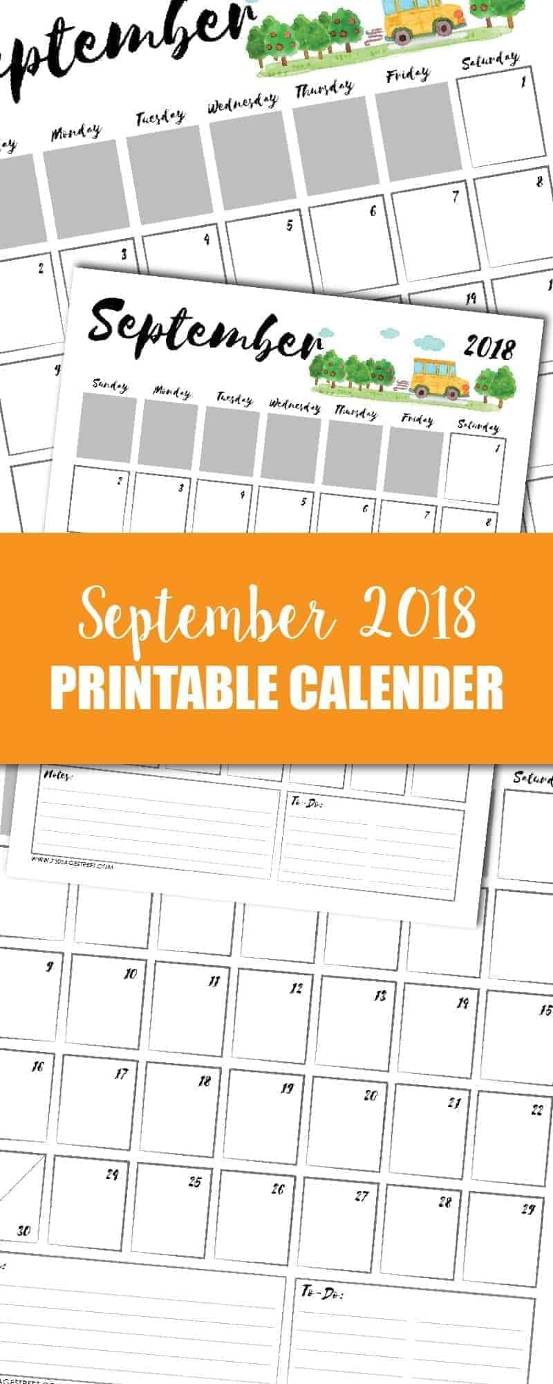 tall graphic showing a September 2018 printable calendar