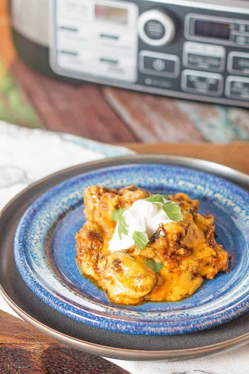 Delicious low carb beef enchilada casserole you can make in the Ninja® Cooking System with Auto-iQ™ for a quick and easy keto meal.