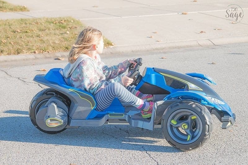 Girl on Power Wheels Boomerang