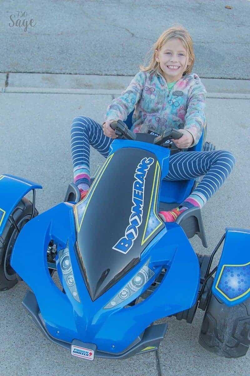 Girl on Power Wheels Boomerang