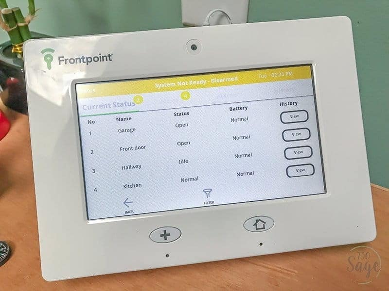 Frontpoint Security Setup control panel touch screen