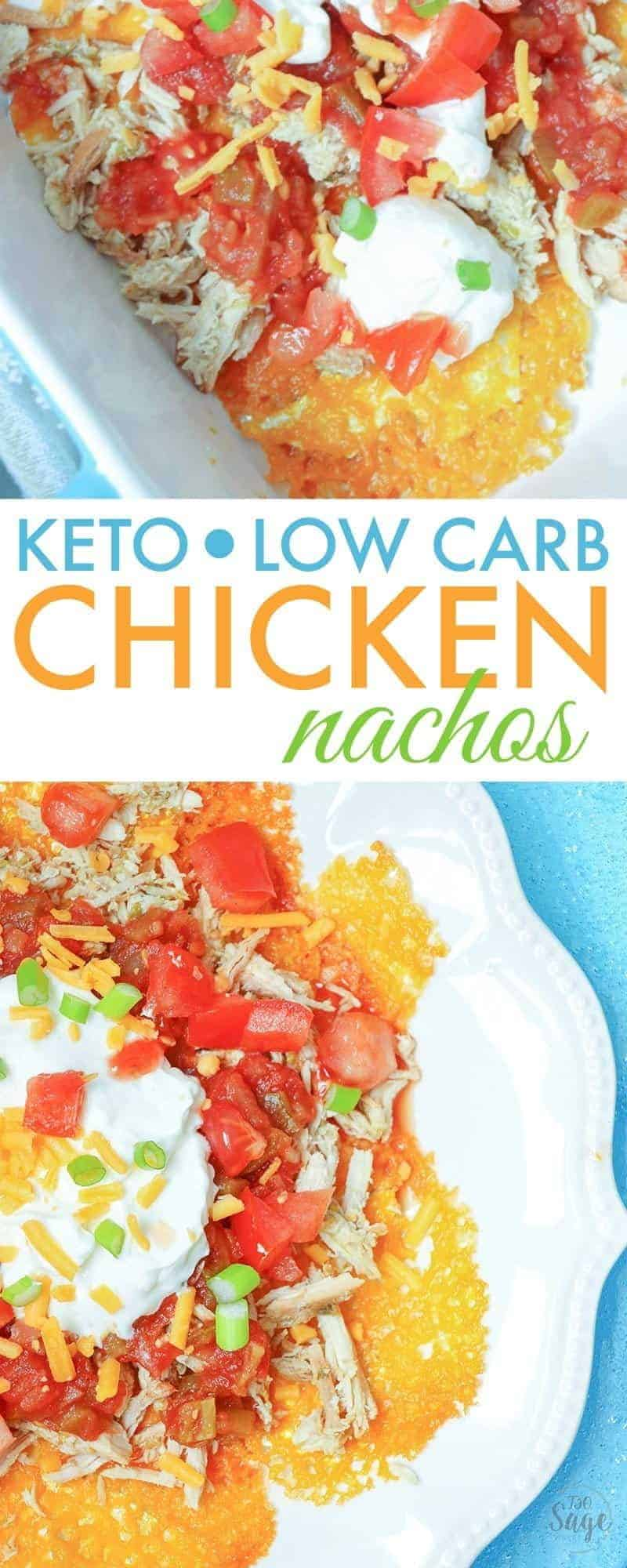 Make delicious keto nachos with chicken in the slow cooker. These low carb nachos are delicious and use cheddar cheese crisps instead of traditional tortilla chips. Add your favorite toppings like sour cream, tomatoes and onions and you won't even miss the corn chips. #lowcarb #keto