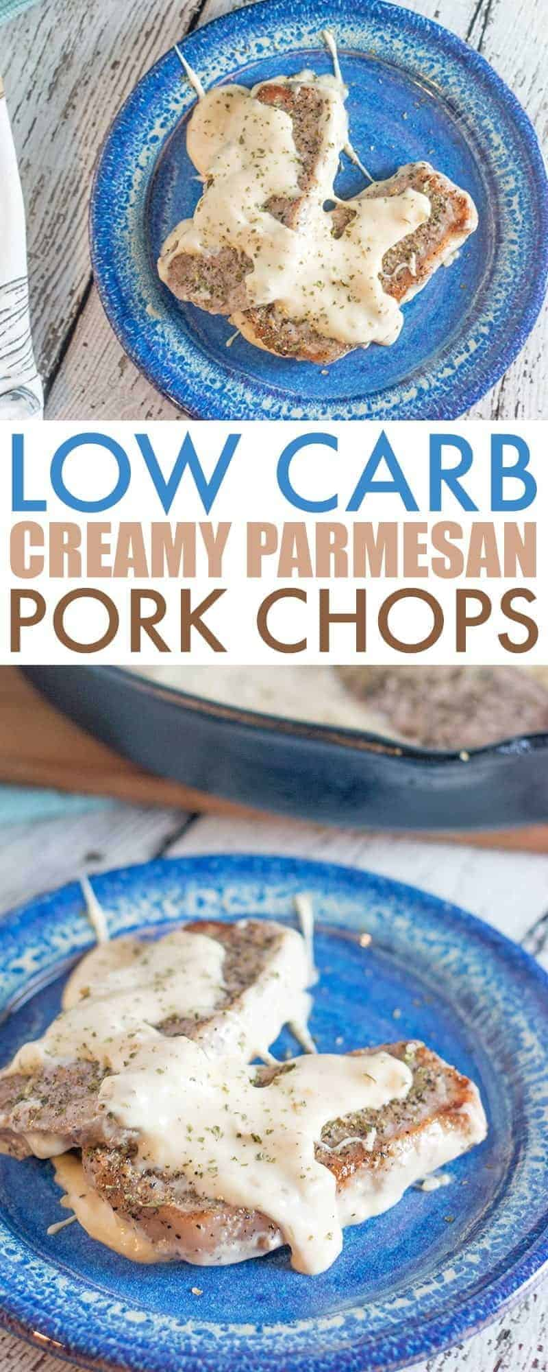 Two pictures of low carb pork chops recipe with text in-between with the name of the recipe.