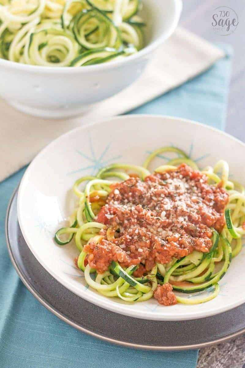 Side view of Low Carb Creamy Bolognese with Zucchini Noodles
