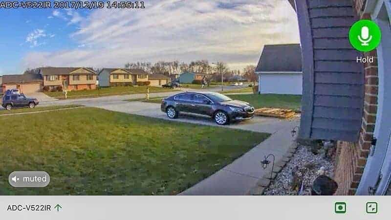 Frontpoint Security Setup camera screenshot grey car in driveway