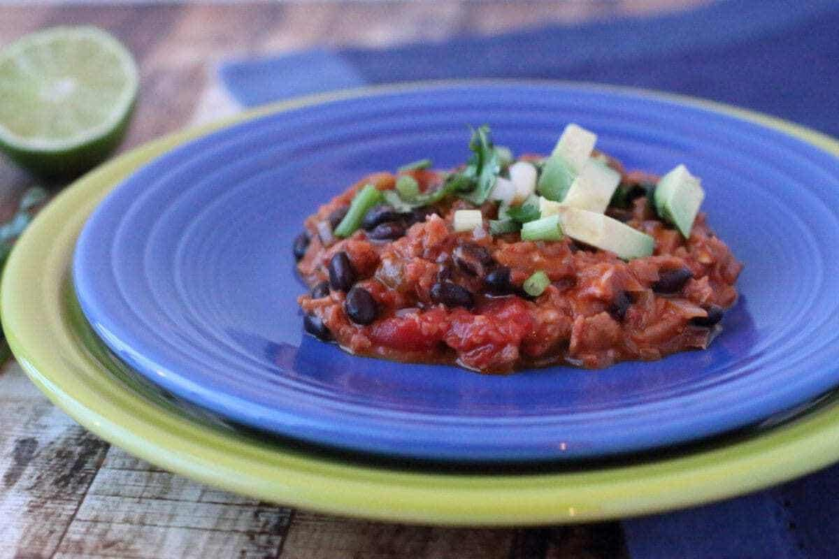Low Carb Vegetarian Beef Enchilada Casserole on a blue plate