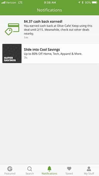 notification from Groupon+ about cash back