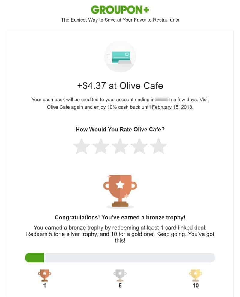 email from Groupon indicating cash back