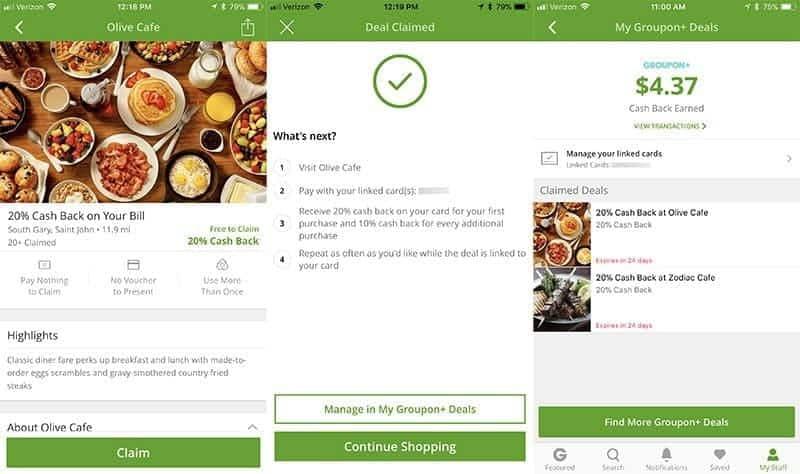 screenshots from Groupon Plus app