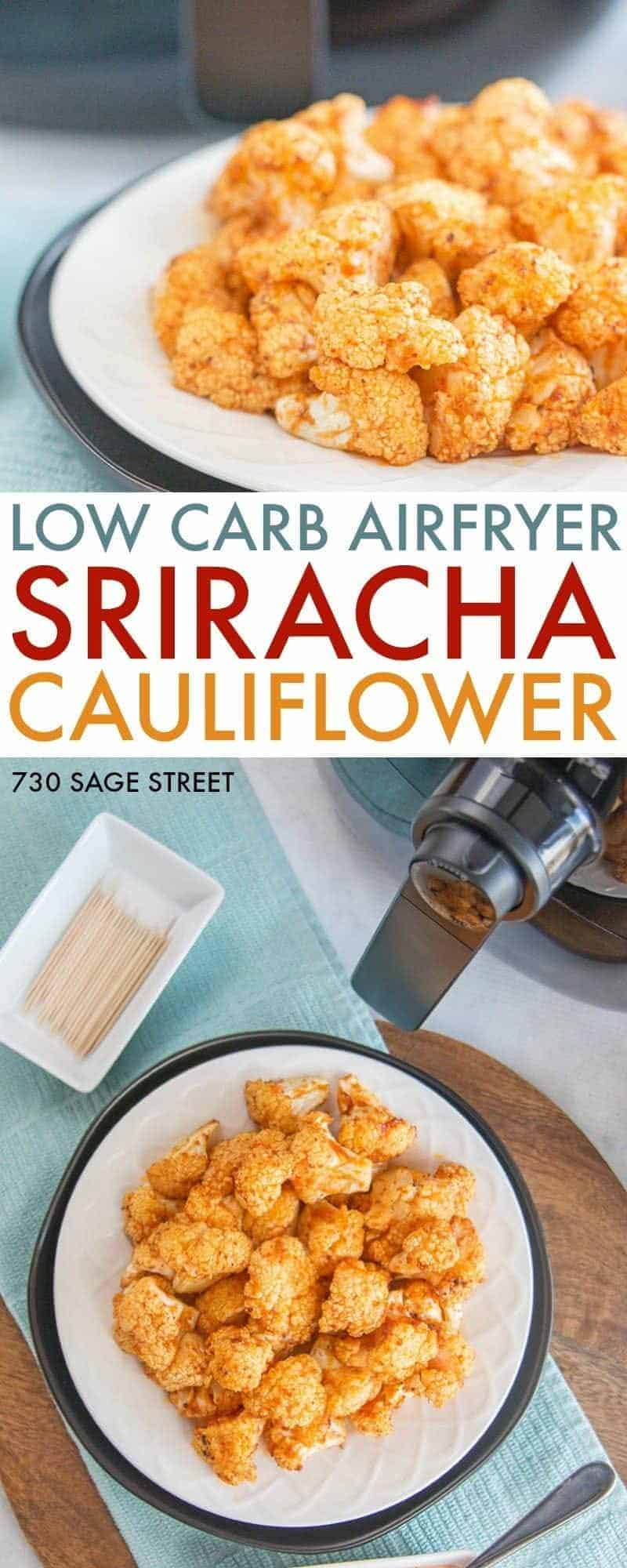 sriracha cauliflower airfryer recipe on a white plate with a blue background