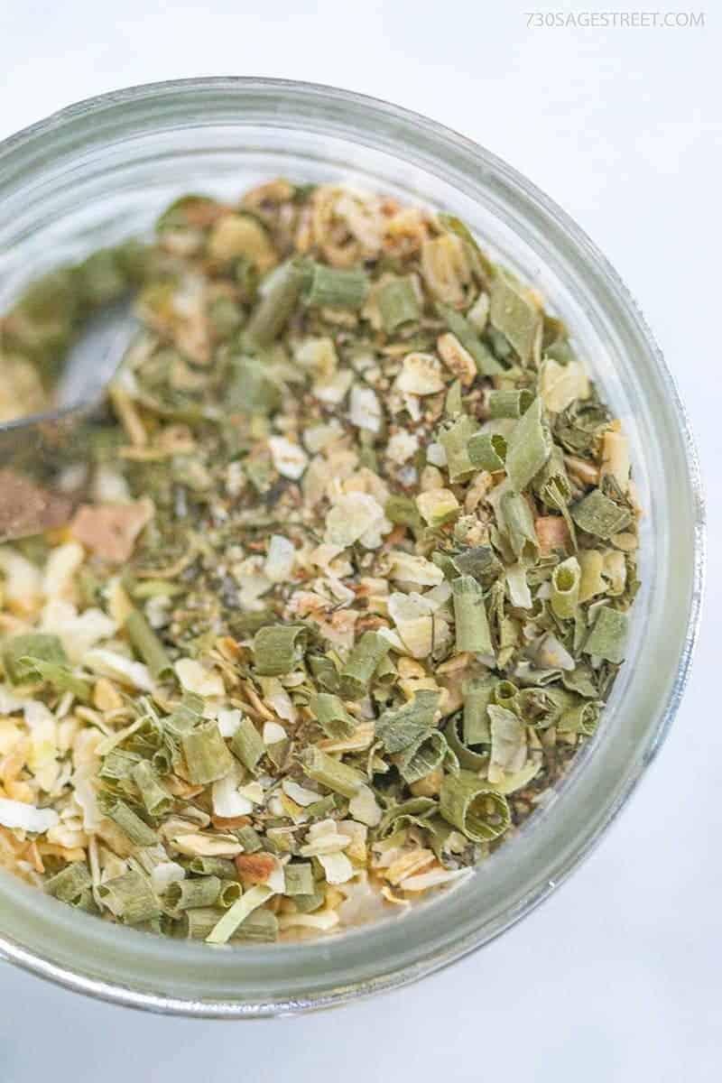 ranch seasoning ingredients in a glass jar