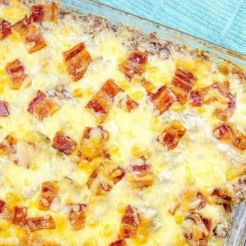 baked chicken casserole in a glass dish