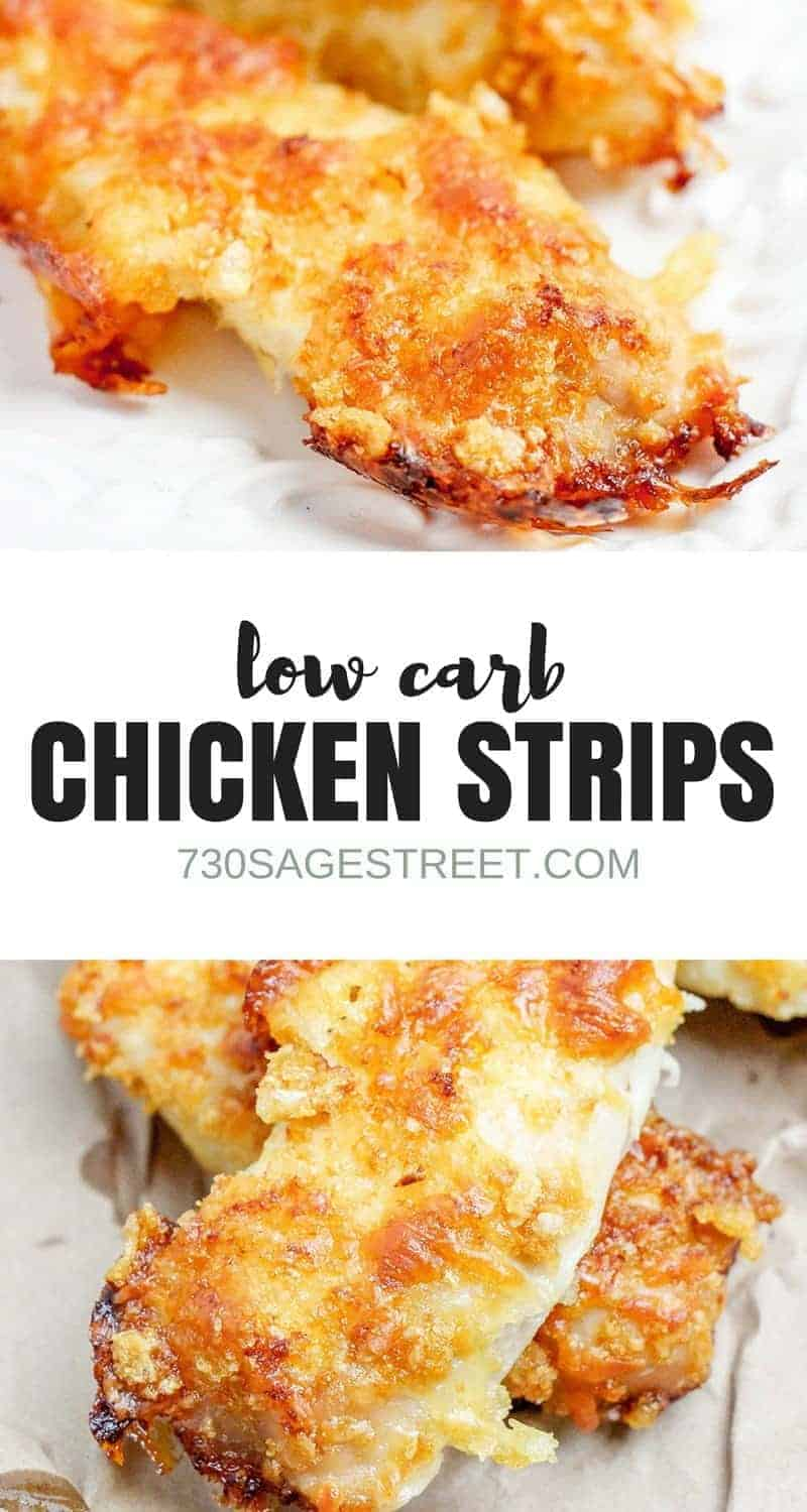 Enjoy a low carb version of breaded chicken strips with this baked chicken tenders recipe. #easy #chicken #lowcarb #keto #dinner #lunch #baked #lowcarbbakedchicken #glutenfree #ketodiet #lowcarbdiet #lowcarbdinner #ketodinner