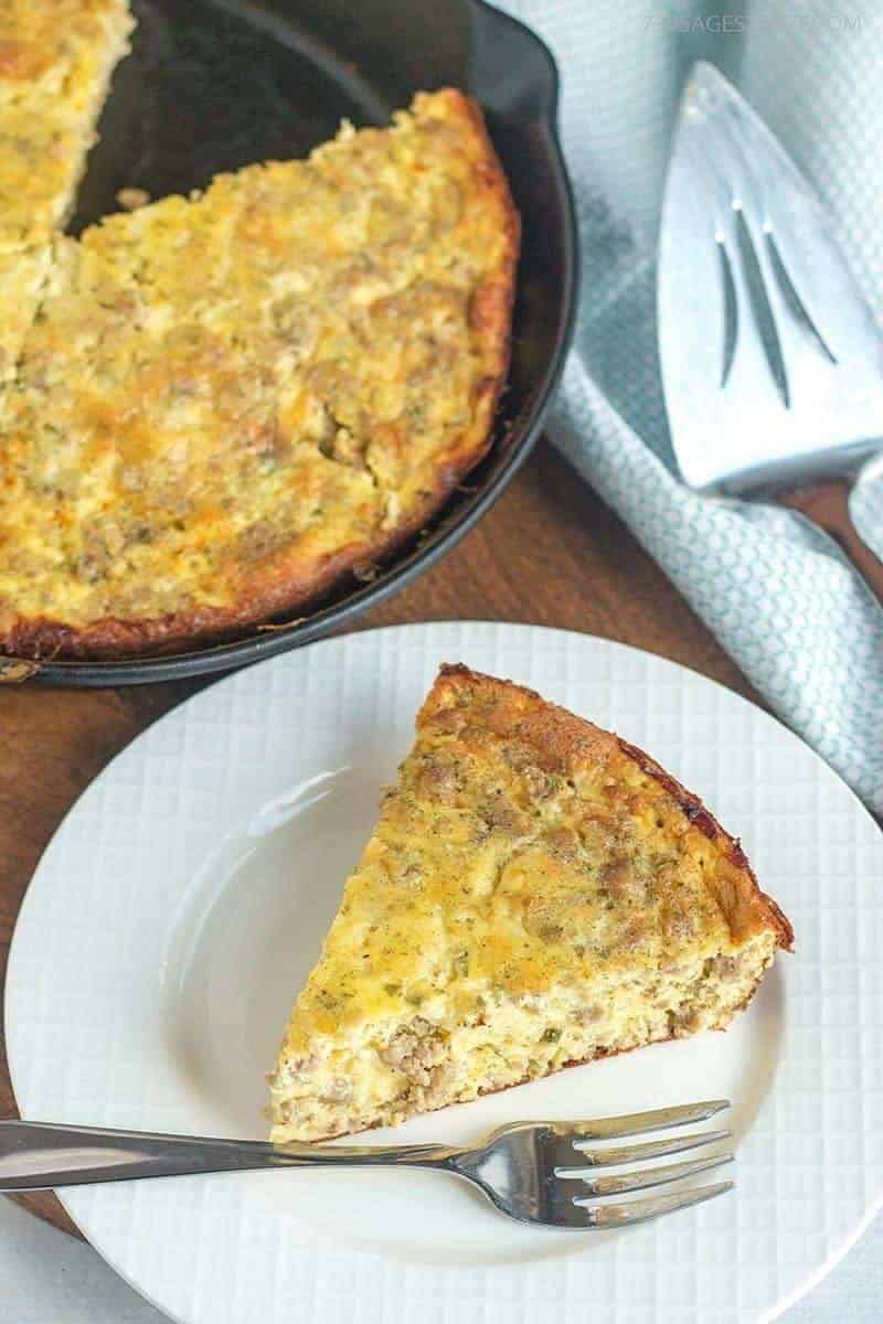 breakfast quiche on a white plate
