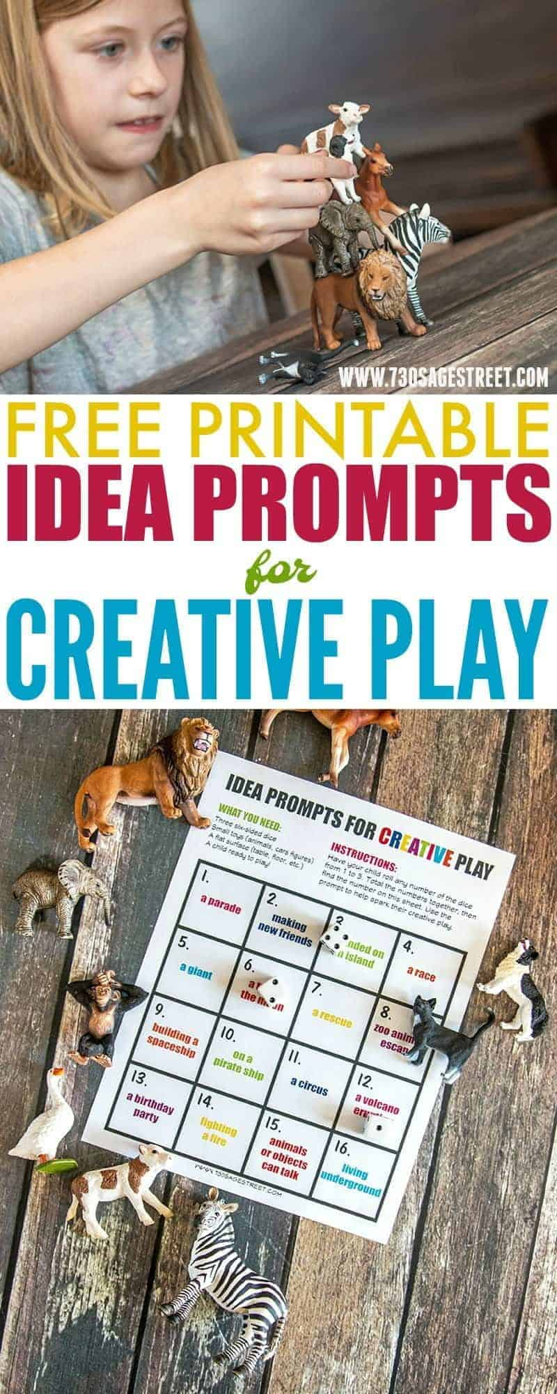 Free printable idea prompts activity for creative play #printable #freebie #freeprintable #freedownload #download #downloadandprint #creativity #play #kids #kidsactivities