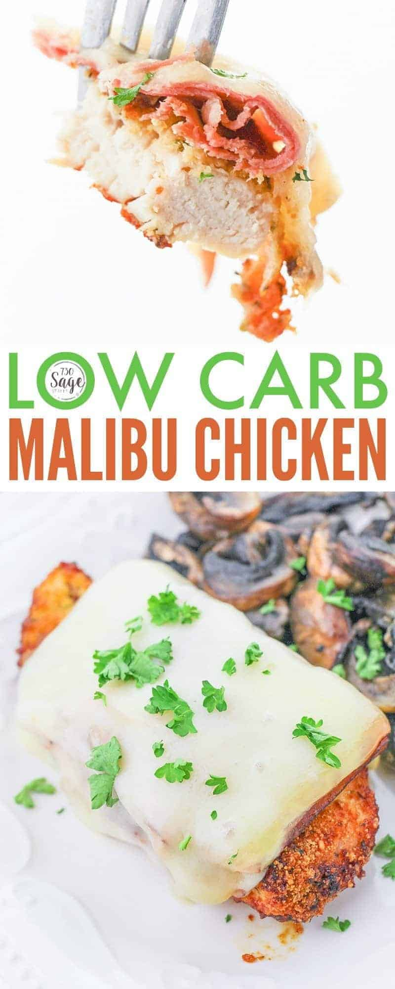 This low carbMalibu Chickenrecipe is an easy weeknight dinner. Made with boneless chicken, low carb breadcrumbs, ham, Swiss cheese and a delicious sauce. Malibu Chicken was made originally famous by the Sizzler, and this recipe is a Sizzler copycat but a keto version. #lowcarb #lowcarbdiet #keto #ketodiet #ketogenicdiet #chickendinner #chickenrecipe #copycat #copycatrecipe #easy #easyrecipe #recipe #recipeideas