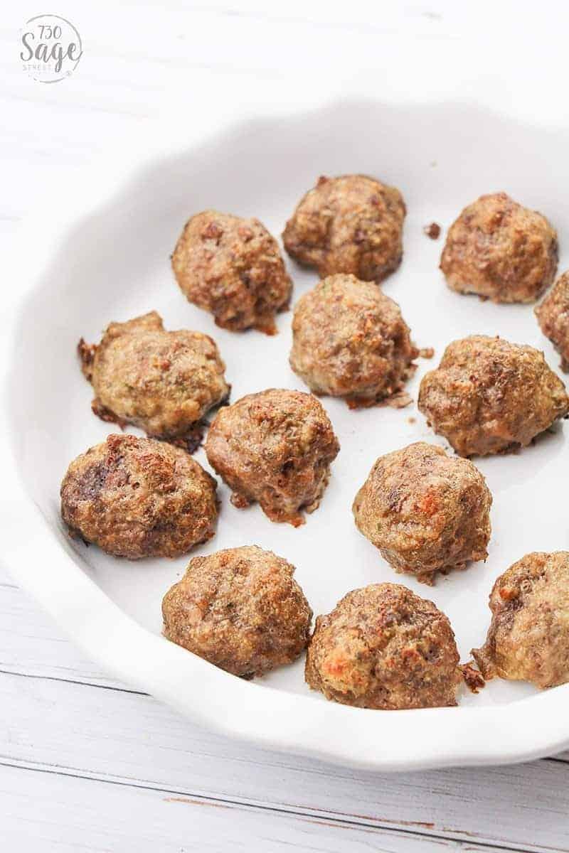 keto meatballs in a white dish