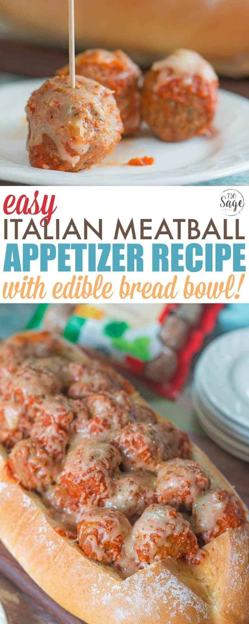 Italian Meatball Appetizer - Quick and Easy Bread Bowl Recipe perfect for parties. Ready in less than 30 minutes! Meatballs, marinara, mozzarella cheese and a loaf of Italian bread are all you need for a delicious appetizer everyone will enjoy. #appetizer #recipe #meatballs #easy #easyrecipe #party #partyfood