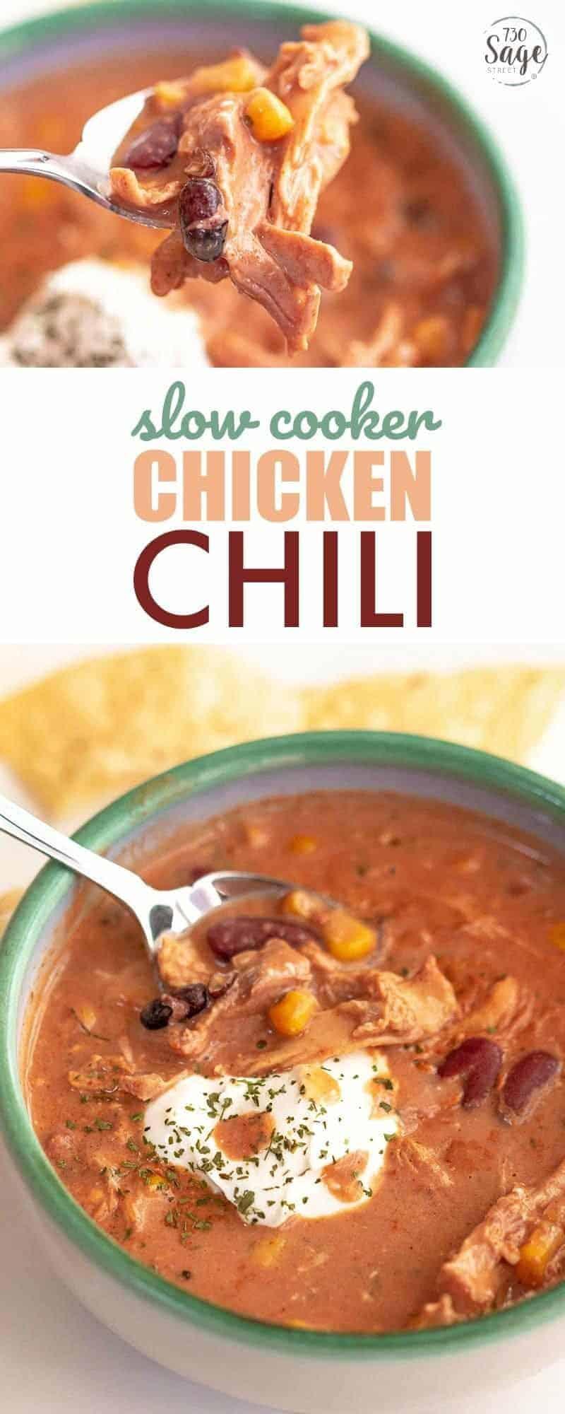 Slow cooker chicken chili recipe.