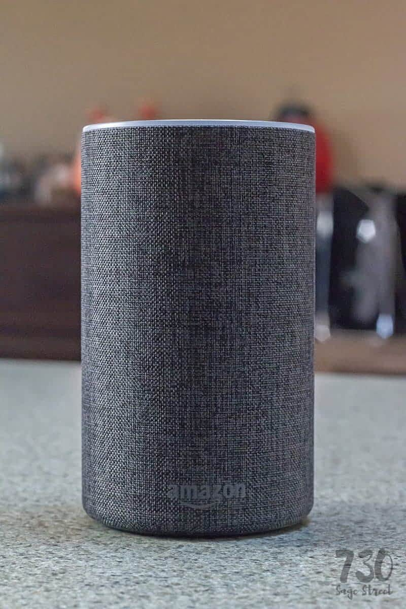 grey and black Amazon echo