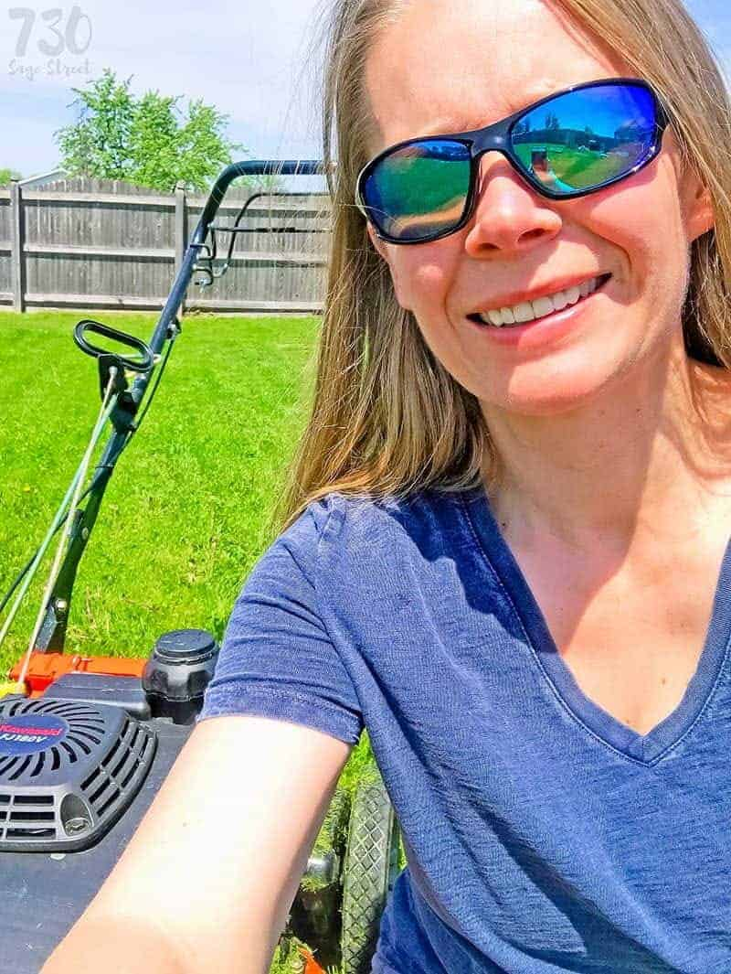 woman in front of a lawn mower to promote hit play campaign