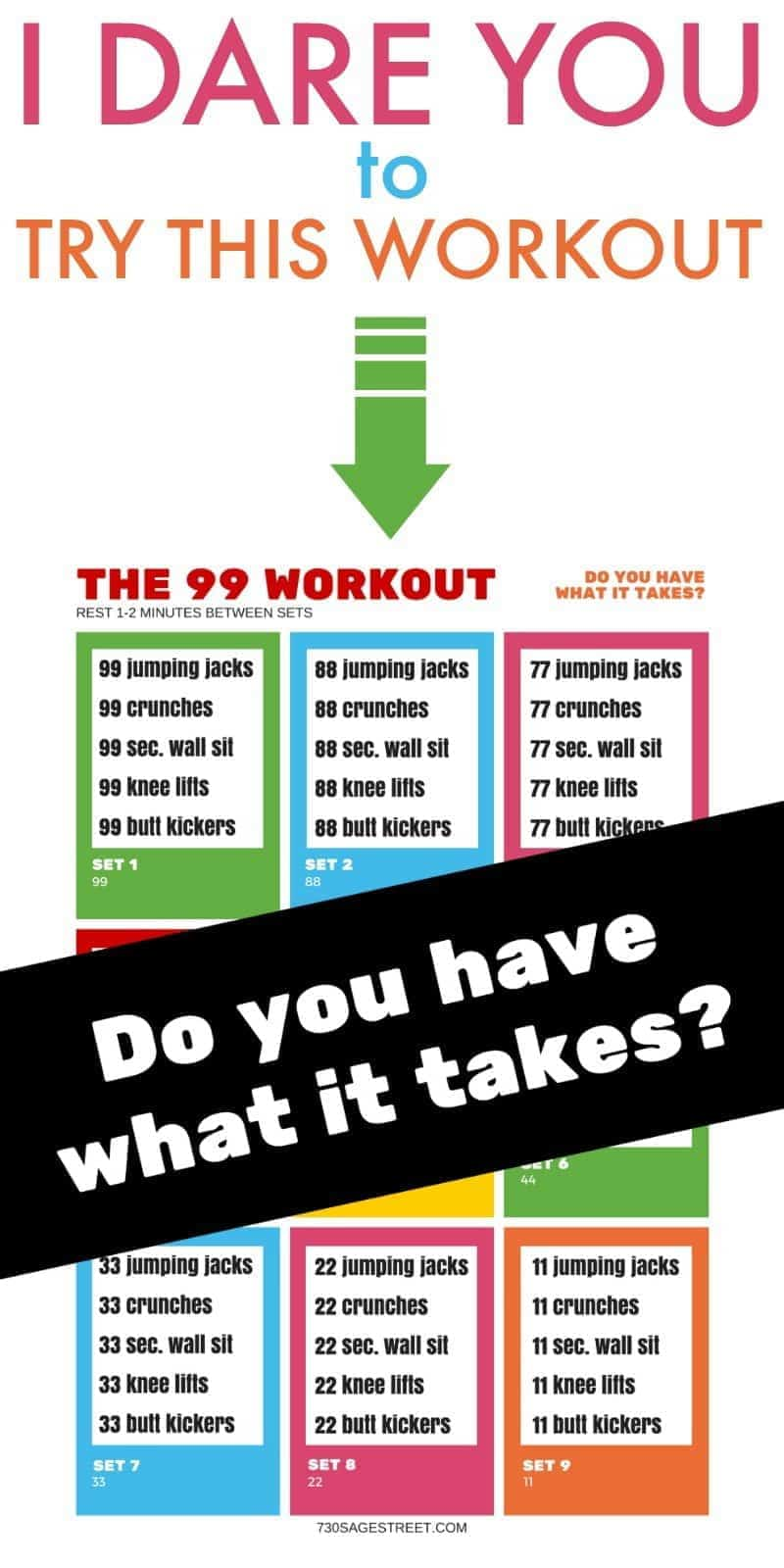 This new and improved version of The 99 Workout is not for the faint of heart. It's an extreme home workout that will help you get in shape fast!