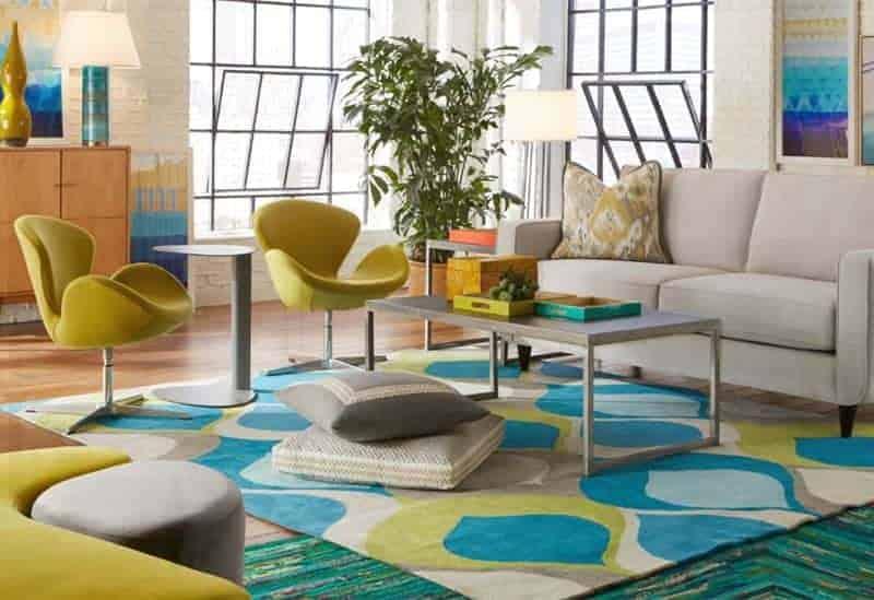 Cort Furniture Rental living room mid century modern