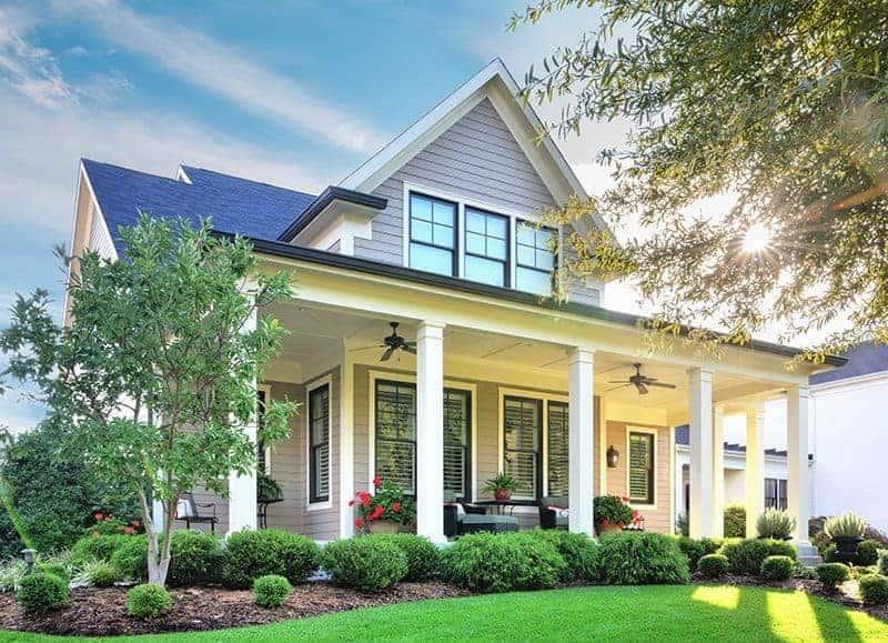 beautiful home with grey James Hardie Siding