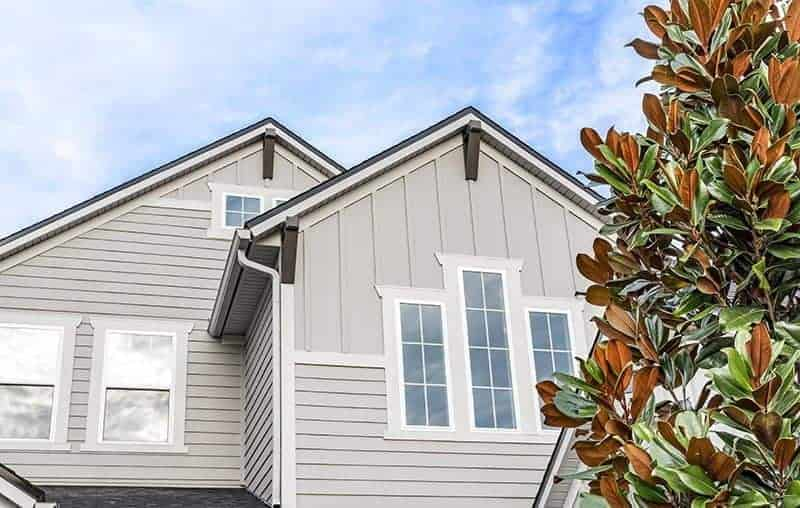 grey gable roof with James Hardie Siding