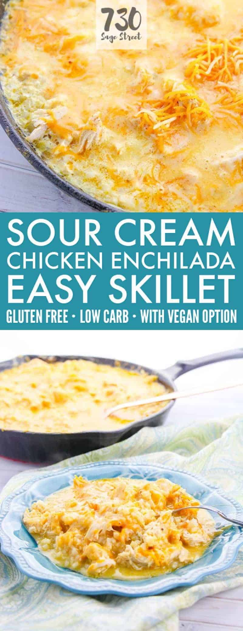 sour cream chicken enchiladas photo collage with text