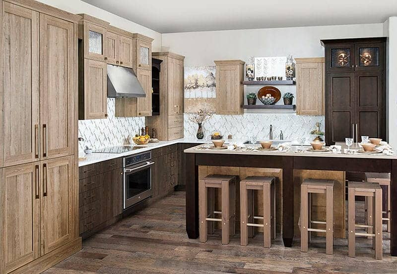 wood kitchen with frameless cabinets