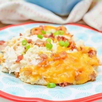 loaded cauliflower casserole on a plate