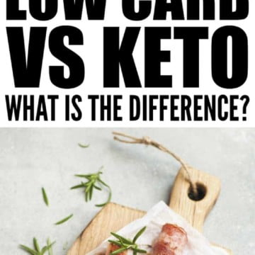 food on a cutting board with the text low carb vs keto on it