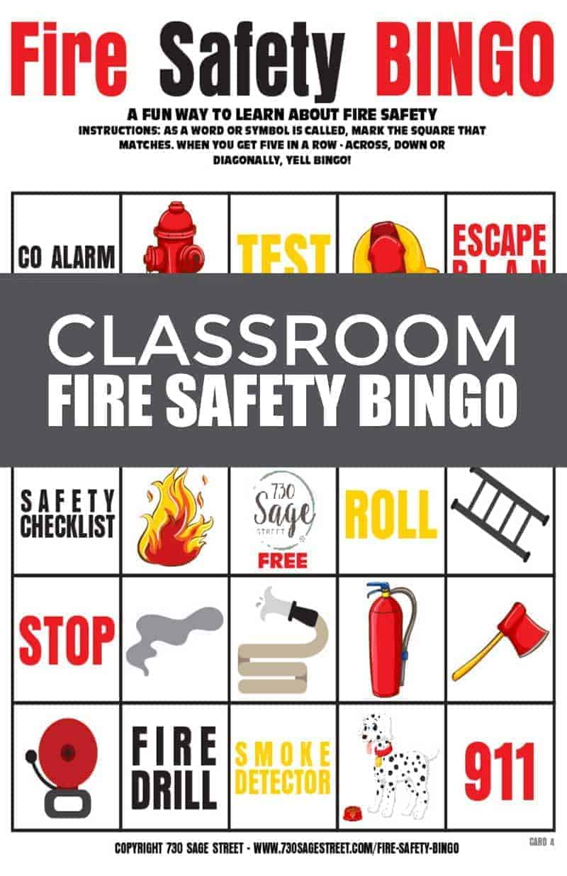 classroom fire safety bingo printable