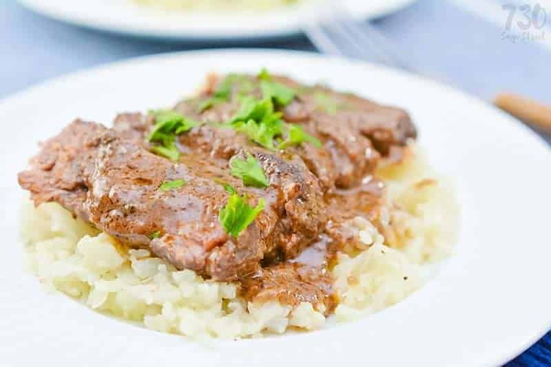 braised short ribs on a bed of cauliflower rice