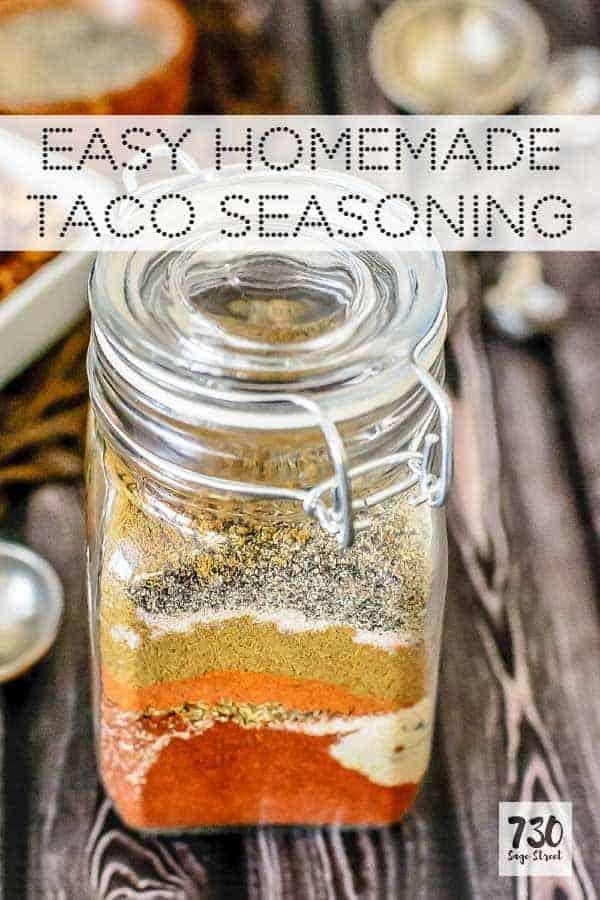 homemade taco seasoning in a glass jar