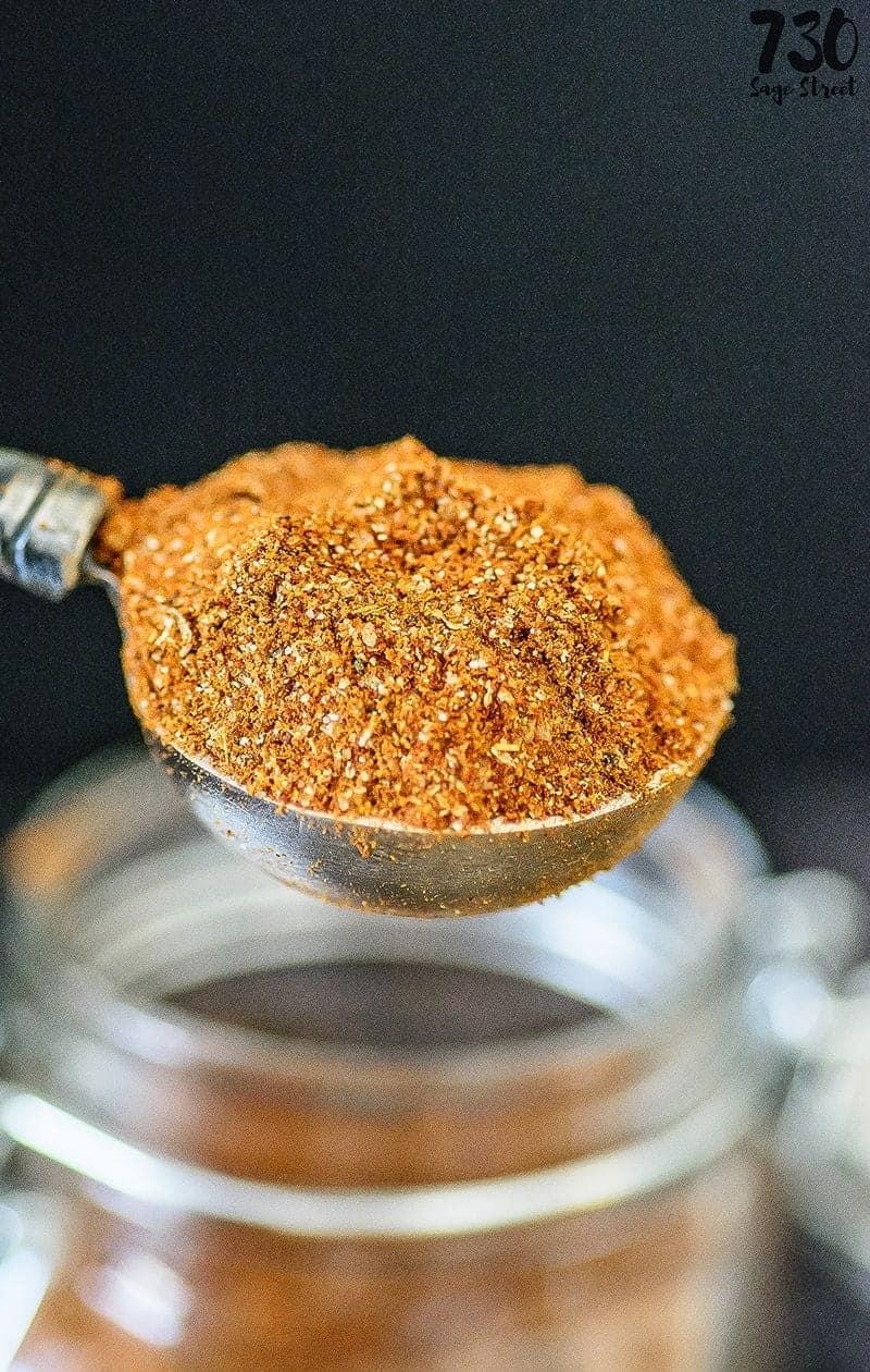 taco seasoning in a measuring spoon