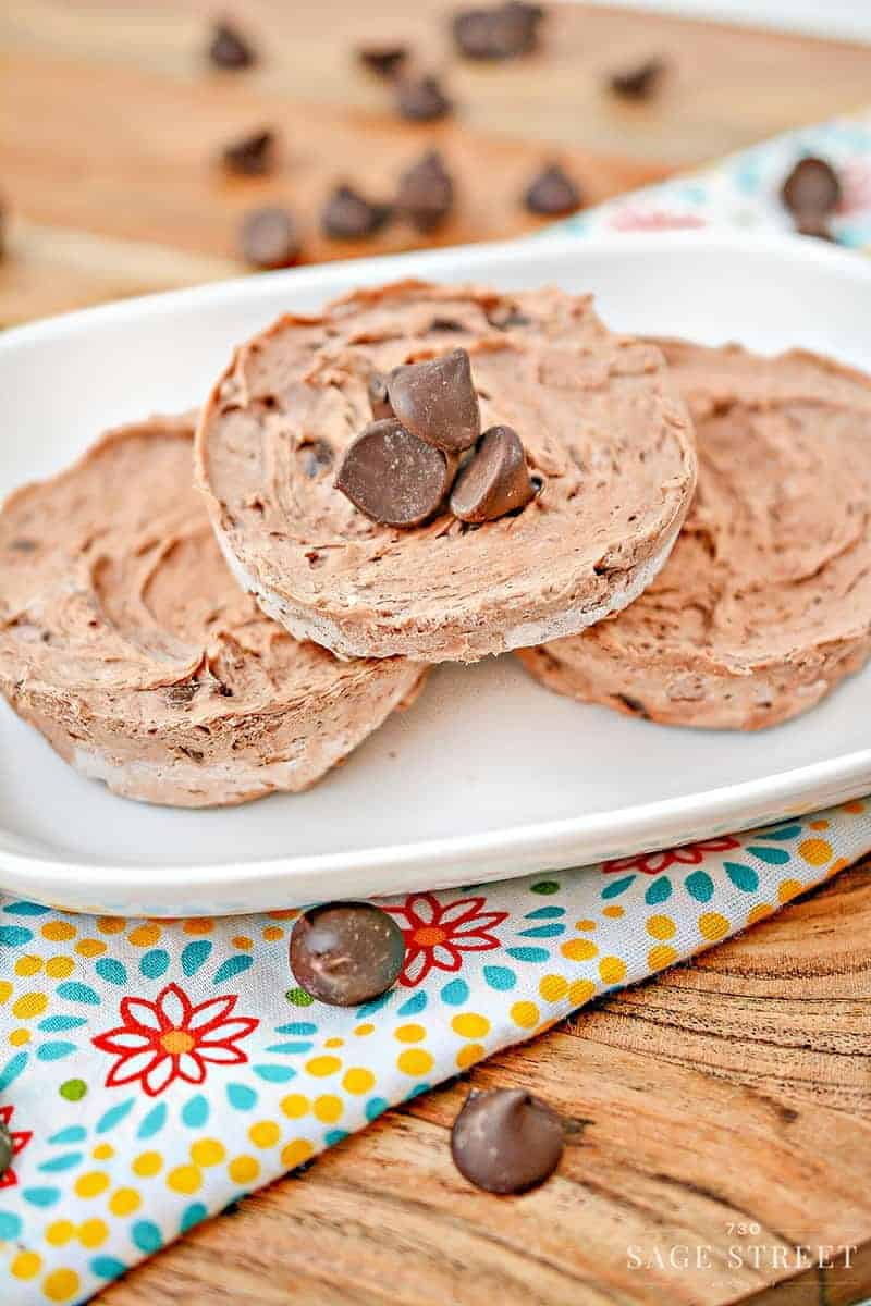 chocolate keto fat bombs on a white plate