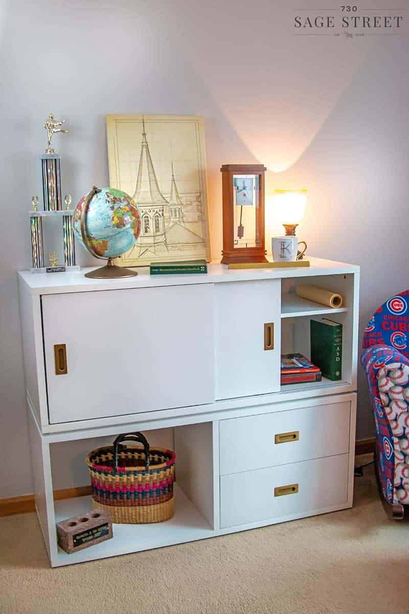 home office makeover with white stacked cabinets