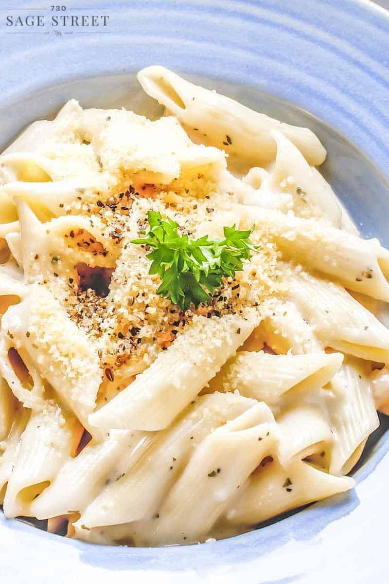 garlic butter penne pasta close up