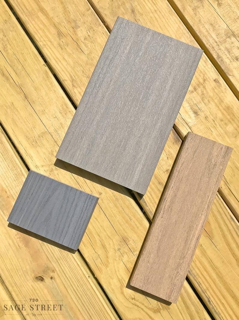 composite decking samples on a wood deck