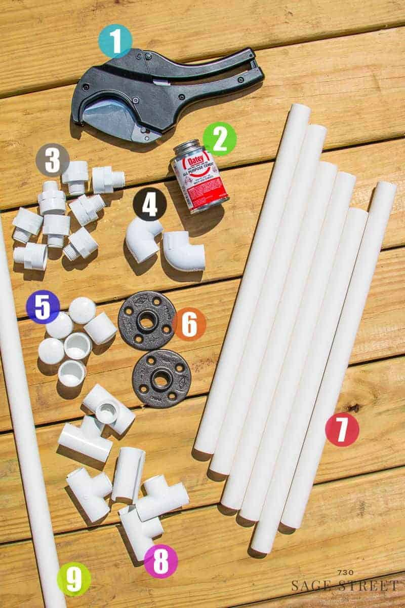 top view of the parts needed to build a DIY pool towel rack