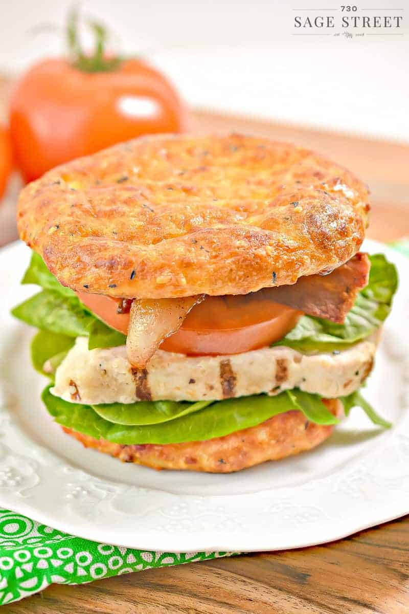 keto cheese bread on a chicken BLT