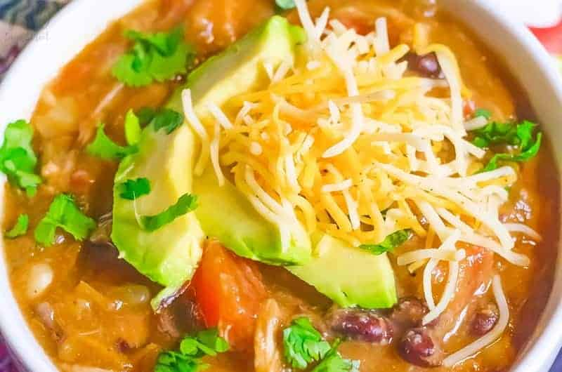 close up of enchilada soup in a white bowl