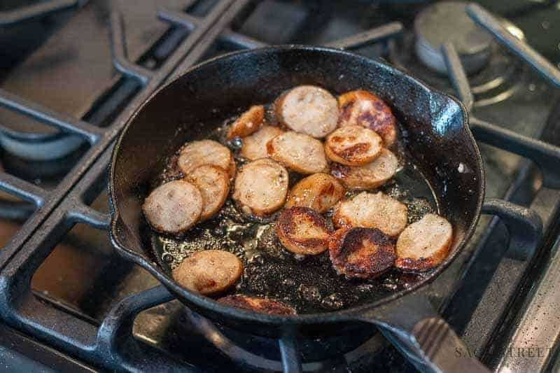 sausage in a cast iron pan