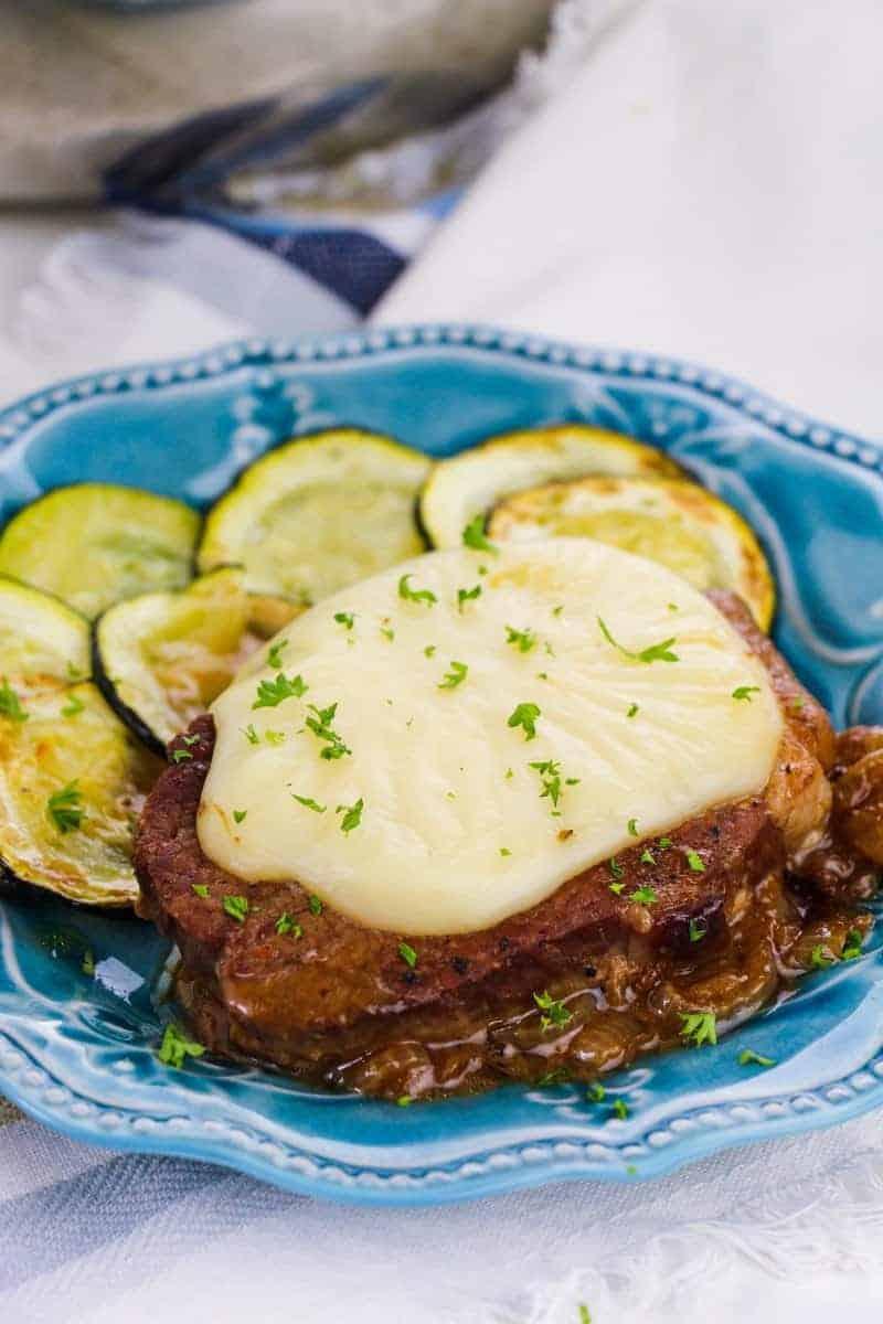 Round steak smothered in onion gravy.