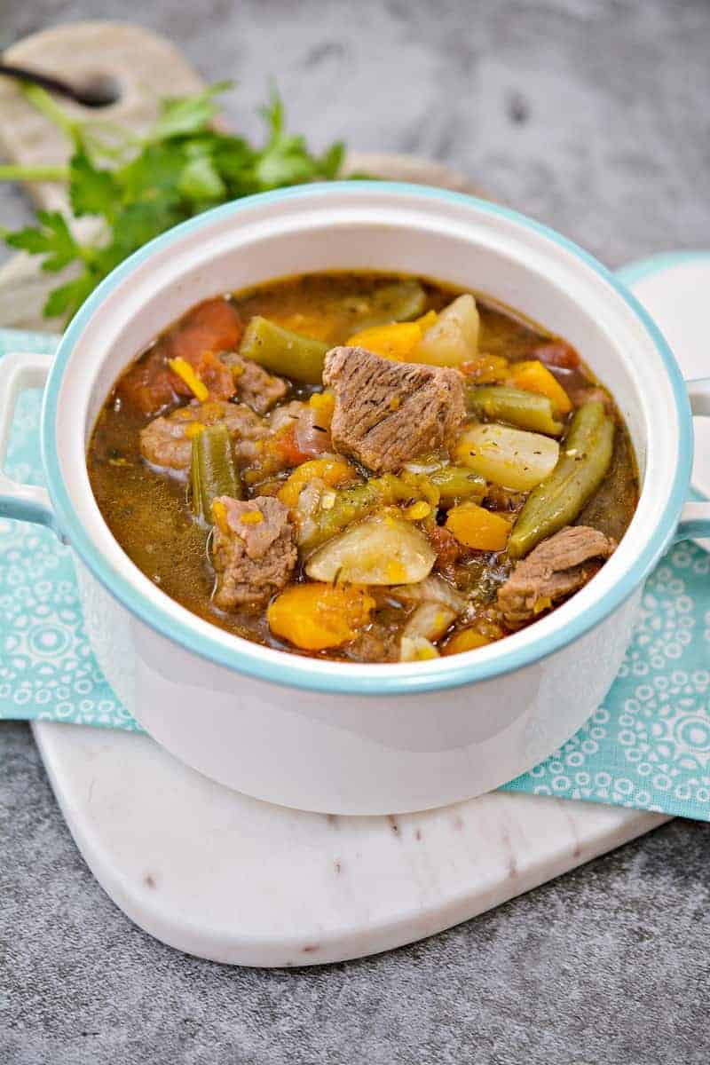 Savory Low Carb Beef Stew in final bowl ready to eat!