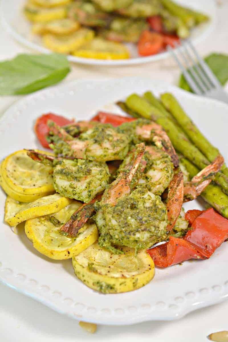 Pesto Keto Shrimp Sheet Pan final plating ready to serve guests