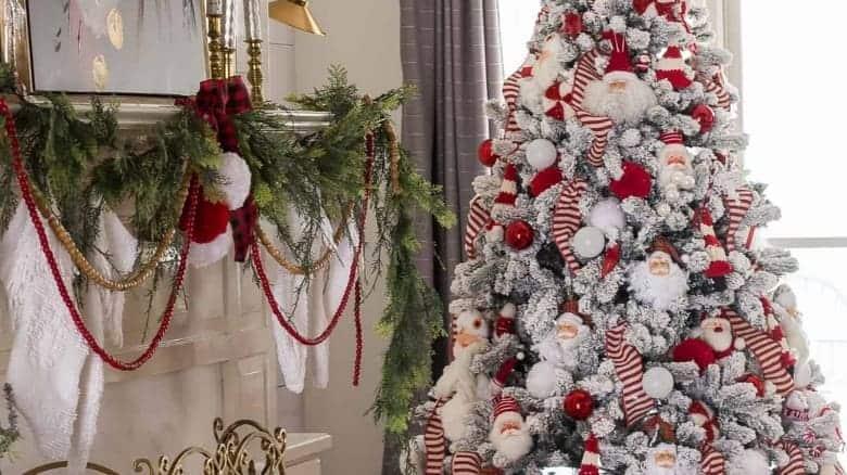 tree decorating like santa